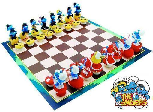 smurf-chess-set