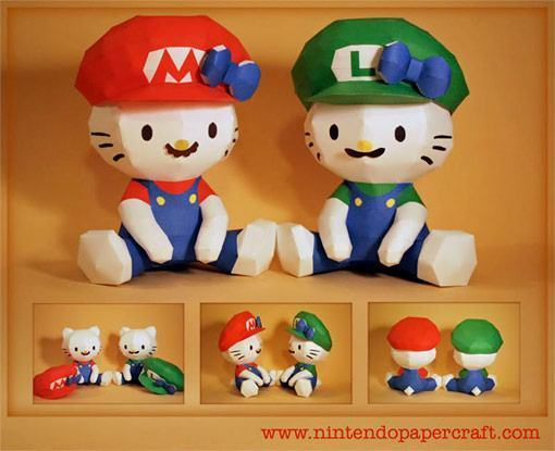 Hello-Kitty-Mario-Papel-Papertoy
