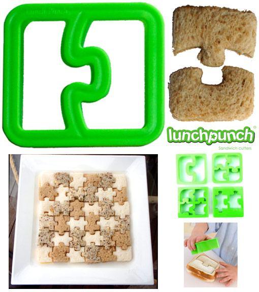 Sanduíches divertidos em forma de quebra-cabeça