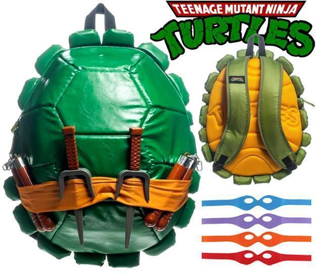 TMNT-Shell-Backpack-with-Weapons-and-Masks