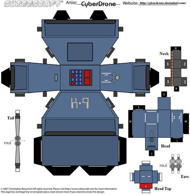 Doctor-Who-Cyberdrone-Papercraft-Papel-07