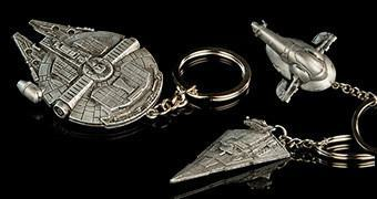 Chaveiros de Aço Naves de Star Wars: Millennium Falcon, Slave I e Star Destroyer