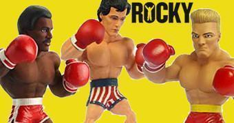 Mini-Figuras Estilizadas Movie Superstars Series 02: Rocky Balboa, Apollo Creed e Ivan Drago