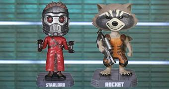 Bonecos Bobble Heads Guardiões da Galáxia: Star-Lord e Rocket Raccoon