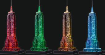 Quebra-Cabeças 3D Empire State Building Iluminado com LED Colorido