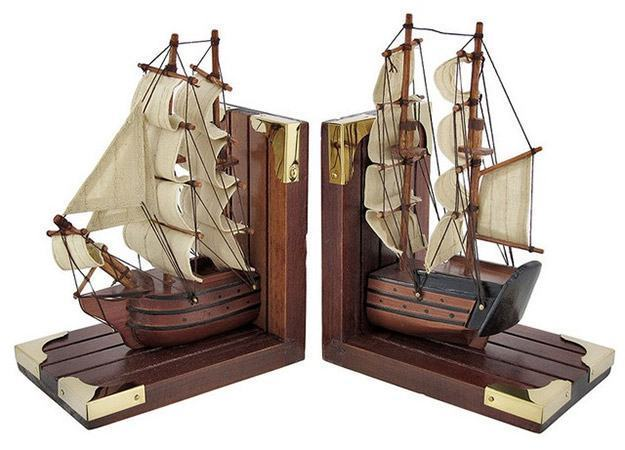 Wooden-Nautical-Tall-Ship-Bookends-01