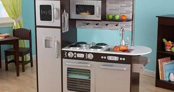 Cozinha de Brinquedo Uptown Espresso Kitchen com Design Inox