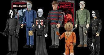 Action Figures Funko ReAction Horror: Krueger, Jason, Myers, Corvo, Hellraiser, Sam e Ghost Face!