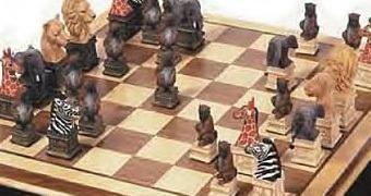 Xadrez Animais Africanos com Leões, Leoas, Elefantes, Zebras Girafas e Macacos!
