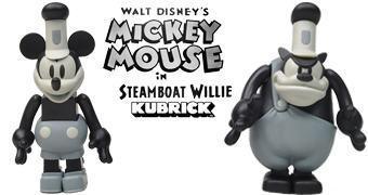 Mini-Figuras Kubrick Mickey Mouse e Bafo-de-Onça em Steamboat Willie (Mickey 86 Anos)