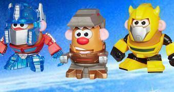 Mini-Bonecos Sr. Cabeça de Batata Transformers: Mr. Potato Head Bumblebee, Optimus Prime e Grimlock