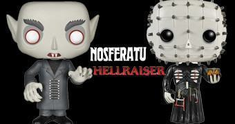 Bonecos Funko Pop! Terror: Nosferatu e Hellraiser Pinhead