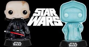 Bonecos Funko Pop! Star Wars: Darth Vader sem Capacete e Palpatine Holográfico