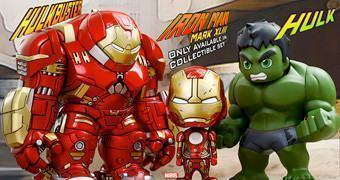 "Bonecos ""Baby Form"" Avengers: Age of Ultron Cosbaby Série 1.5: Hulbuster, Iron Man e Hulk"
