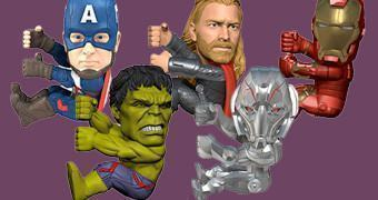 Neca Scalers The Avengers Age of Ultron: Capitão América, Thor, Hulk, Iron Man e Ultron