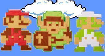 Bonecos de Pelúcia 8-Bit Nintendo: 8-Bit Link, 8-Bit Luigi e 8-Bit Mario