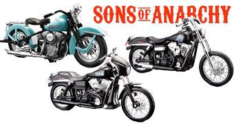Motos Sons of Anarchy 1:18 Harley Davidson: John Teller, Tig e Chibs