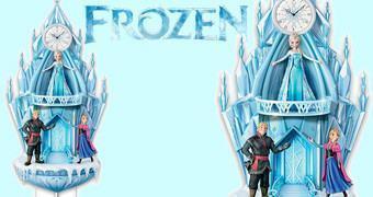 """Relógio Cuco Frozen – Uma Aventura Congelante com LEDs e """"Let It Go"""" na Voz de Idina Menzel"""