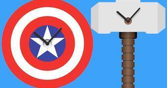 Relógios de Parede Marvel: Escudo do Capitão América e Martelo do Thor