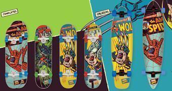 Skates Santa Cruz Screaming Hand Marvel: Thor, Homem-Aranha e Wolverine
