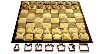 Tabuleiro de Xadrez com Peças de Biscoitos Comestíveis