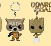 Chaveiros Guardiões da Galáxia Funko Pocket Pop! Keychains: Rocket Raccoon, Groot e Baby Groot