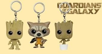 Chaveiros Guardiões da Galáxia Funko Pocket Pop! Keychains: Rocket Raccoon, Groot e Baby Groot
