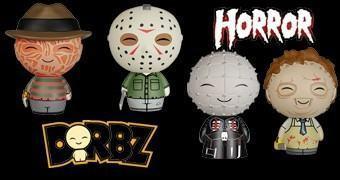 Bonequinhos de Vinil Horror Dorbz: Freddy Krueger, Jason, Leatherface e Pinhead