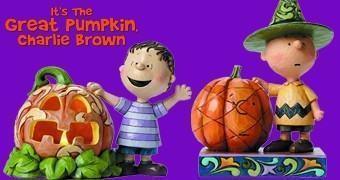 """Estátuas Charlie Brown e a Grande Abóbora – Jim Shore """"Folk Art"""""""