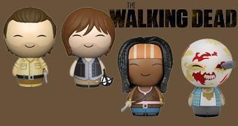 Bonequinhos de Vinil Walking Dead Dorbz: Rick, Daryl Michonne e Zumbi RV Walker