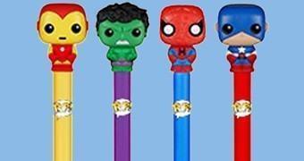 Canetas Funko Pop! Marvel: Iron Man, Hulk, Homem-Aranha e Capitão América