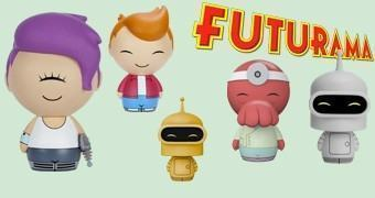 Bonequinhos de Vinil Futurama Dorbz: Fry, Leela, Zoidberg e Bender