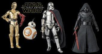 Action Figures Medicom MAFEX Star Wars VII: C-3PO & BB-8, Kylo Ren e Cap. Phasma