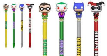 Canetas Funko Pop! Pen DC: Batman, Robin, Coringa e Harley Quinn