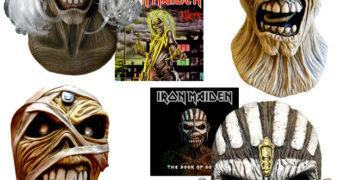 Máscaras Iron Maiden Eddie: Killers, Piece of Mind, Powerslave e Book of Souls