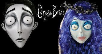Máscaras A Noiva Cadáver de Tim Burton: Victor Van Dort e Emily