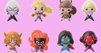 Chaveiros Marvel 3D Monogram Figural Keyrings Série 7 com Personagens Femininas!