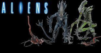 """Action Figures Alien 7"""" Série 10: Gorilla Alien, Queen Facehugger e Mantis Alien (Kenner Expanded Universe Aliens)"""