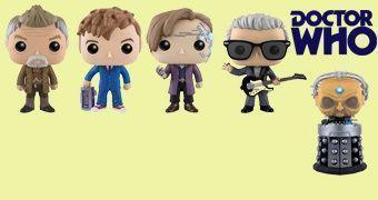 Doctor Who Pop! Série 3: War Doctor, 10º Doctor, 11º Doctor, 12º Doctor e Davros