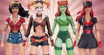 Action Figures DC Comics Bombshells: Wonder Woman, Batwoman, Poison Ivy e Harley Quinn