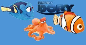 Bonecos de Pelúcia Procurando Dory com Nemo, Hank e Dory