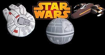 Naves de Pelúcia Star Wars Tamanho Jumbo: Millennium Falcon, Death Star e Resistance X-Wing
