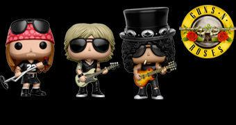 Bonecos Pop! Guns N' Roses: Axl Rose, Slash e Duff McKagan