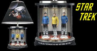 Abajur Teletransporte Star Trek com Kirk, Spock e McCoy