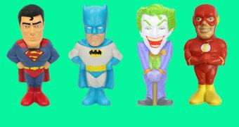 Bonecos Anti-Stress DC Heroes: Batman, Superman, Flash e Coringa