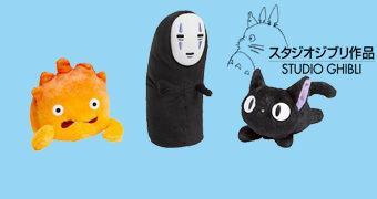 Bonecos de Pelúcia do Studio Ghibli: No Face, Jiji e Calcifer (Hayao Miyazaki)