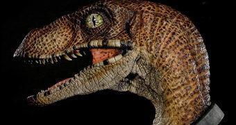 """Busto Jurassic Park Velociraptor """"Clever Girl"""" em Tamanho Real"""