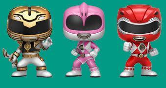 Bonecos Pop! Power Rangers: Branco, Rosa e Vermelho