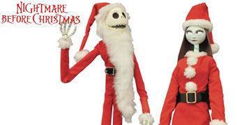 Papai Noel Jack e Mamãe Noel Sally – Action Figures Nightmare Before Christmas