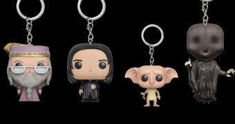 Chaveiros Harry Potter Funko Pocket Pop! com Dumbledore, Dobby, Snape e Dementador